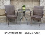 cafe table and chair in urban... | Shutterstock . vector #168267284