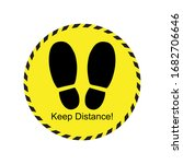 Keep Distance Footprint Sign...