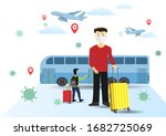 man wearing face mask with...   Shutterstock .eps vector #1682725069