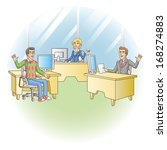 office workers at the workplace.... | Shutterstock . vector #168274883