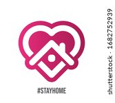 stay at home symbol. heart and... | Shutterstock .eps vector #1682752939