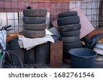 Messy Workshop Yard. Scrap...