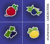 set of fruits sticker on a... | Shutterstock .eps vector #1682815006