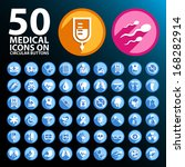 50 medical icons on circular... | Shutterstock .eps vector #168282914