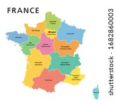 france  political map with... | Shutterstock .eps vector #1682860003