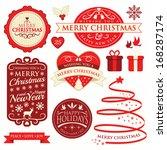 set of christmas labels  frames ... | Shutterstock .eps vector #168287174