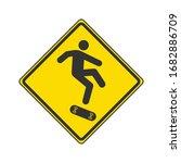 caution skateboarding icon....
