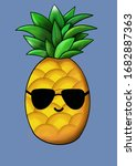 cool pineapple with sunglasses ....   Shutterstock . vector #1682887363