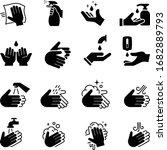 hand sanitizer icons   black... | Shutterstock .eps vector #1682889793