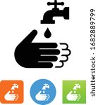hands washing with faucet icon | Shutterstock .eps vector #1682889799