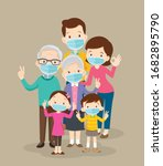 family wearing protective... | Shutterstock .eps vector #1682895790