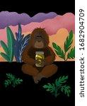 funny orangutan with pickles....   Shutterstock . vector #1682904709