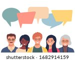 people avatars with speach... | Shutterstock .eps vector #1682914159