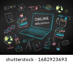 vector color chalk drawn... | Shutterstock .eps vector #1682923693