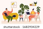 woman and man working at desk... | Shutterstock .eps vector #1682934229
