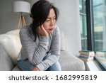 Sad Asian Mature Woman Lonely...