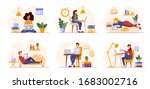 working freelance  learning or... | Shutterstock .eps vector #1683002716