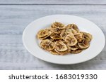 Dried  Banana Slices  On White...
