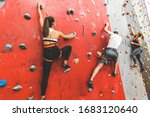 Athletes Climber Moving Up On...