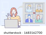 a girl use laptop computer and... | Shutterstock .eps vector #1683162700