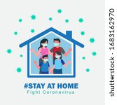 i stay at home awareness social ... | Shutterstock .eps vector #1683162970