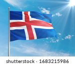 Iceland national flag waving in ...