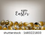 happy easter poster. golden... | Shutterstock .eps vector #1683221833