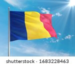 Romania National Flag Waving In ...