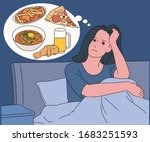 a hungry woman is sitting on... | Shutterstock .eps vector #1683251593