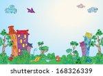 Background Fantasy House Trees