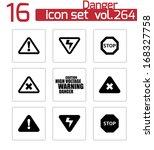 vector black danger icons set...   Shutterstock .eps vector #168327758