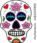 picture of a skull with flowers ... | Shutterstock .eps vector #1683335800