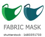 two colorful fabric face masks... | Shutterstock .eps vector #1683351733