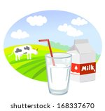 background,beverage,carton,cartoon,concept,cow,dairy,design,drink,field,food,fresh,glass,health,illustration