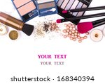 makeup brush and cosmetics  on... | Shutterstock . vector #168340394