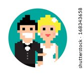 pixel art wedding couple in...   Shutterstock . vector #168343658