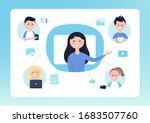 online distance school. teacher ... | Shutterstock .eps vector #1683507760