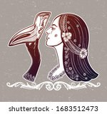 girl with plague doctor mask.... | Shutterstock .eps vector #1683512473