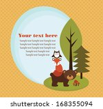 forest animal card design.... | Shutterstock .eps vector #168355094