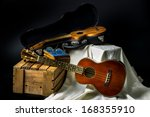 still life  classic ukulele in... | Shutterstock . vector #168355910