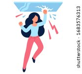 cartoon woman drawing breaking... | Shutterstock .eps vector #1683576313