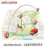 3d isometric janta curfew map... | Shutterstock .eps vector #1683589393