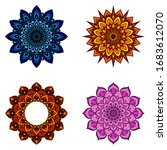 set of four round mandalas for... | Shutterstock .eps vector #1683612070