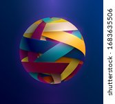 3d colored striped ball. vector ... | Shutterstock .eps vector #1683635506