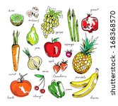 freehand drawing fruit and... | Shutterstock .eps vector #168368570