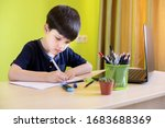 boy using laptop while doing... | Shutterstock . vector #1683688369