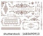 vintage ornament set. floral... | Shutterstock .eps vector #1683690913