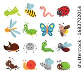 funny insect set  bug  beetle ...   Shutterstock .eps vector #1683702016