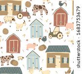 farm house vector seamless... | Shutterstock .eps vector #1683753679