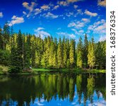 lake and coniferous forest at Mountain foot - stock photo